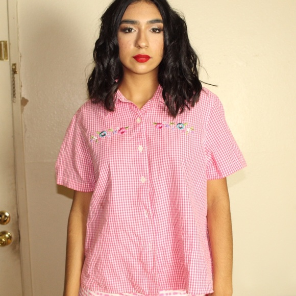 Vintage Tops - 70's 80's Vintage Pink and White Gingham Top